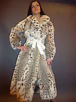 Шуба натуральная женская из рыси с поясом Италия 0004