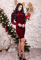 Женское велюровое платье с вырезом на спинке бордовое по колено