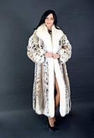 Шуба натуральная женская из рыси с опушкой из лисы POLARFUKS Италия 0012