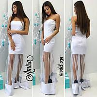Платье макси с прозрачной юбкой из фатина 3 цвета SMor976