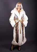 Шуба натуральная женская из рыси со вставками из меха лисы POLARFOX 238