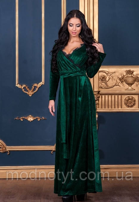 e684cdac713298c Женское зеленое платье в пол бархатное с запахом 46-48, цена 735 грн ...