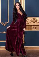 Женское бордовое платье в пол бархатное с запахом бордовое
