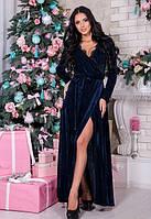 Женское платье в пол бархатное с запахом синие