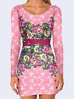 Платье женское Цветы на розовом