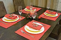 Подставки и салфетки (4 шт. + 4 шт.) для стола Красные звездочки Набор текстильный на кухню №2