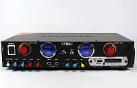 Аудио усилитель AMP 105: 2х150 Вт, SD/MMC/USB, FM 87-108 МГц, 220В, корпус металл, пульт ДУ