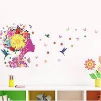 """Наклейка на стену """"цветочная фея с птицами"""", наклейки на шкаф, на стекло, на витрину 65*140см (лист 50*70см)"""