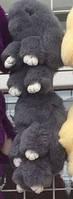 Брелок меховой кролик серый