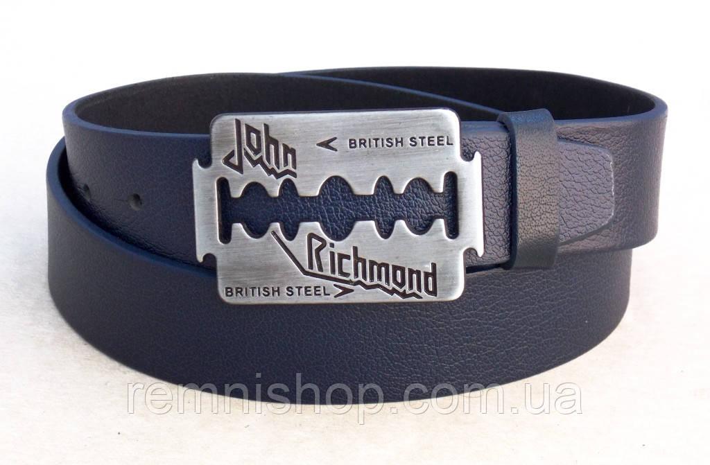 Ремень кожаный синий для джинс John Richmond