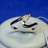 Серебряное кольцо с золотыми пластинами Изгиб кс 36з.нак