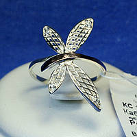 Серебряное кольцо с цирконом и золотом Стрекоза кс 1179з.нак