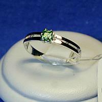 Кольцо серебряное с золотом (зеленый) кс 1220з з.нак, фото 1
