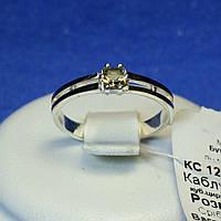 Серебряное кольцо с золотыми напайками (коричневый циркон) кс 1220кор з.нак, фото 1