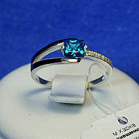 Кольцо серебряное с золотом (голубой) кс 1221г з.нак, фото 1