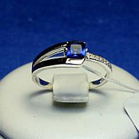 Серебряное кольцо с золотом (синий) кс 1221с з.нак, фото 1