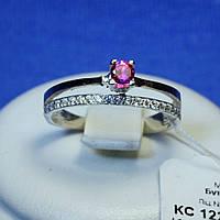 Серебряное кольцо с золотой напайкой (розовый) 1225р з.нак, фото 1