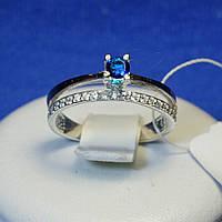 Кольцо из серебра с золотой вставкой (синий) 1225с з.нак, фото 1