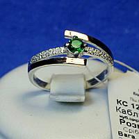 Срібне кільце з золотою напайкою (зелений фіаніт) кс 1250з з.нак, фото 1