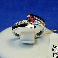 Кольцо серебро с золотыми вставками и красным камнем 1250р з.нак