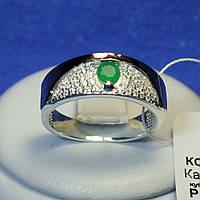 Серебряное кольцо с золотой напайкой (зел.) 1260з нак.з, фото 1