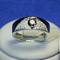 Кольцо из серебра с золотыми вставками и камнями (имитация мистик топаза) 1260з нак.мис