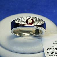 Кольцо серебро с вставкой из золота и фианитами (имитация рубина) 1260з нак.руб