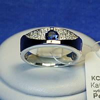 Срібне кільце з золотою пластиною (синій фіаніт) 1260з нак.сап