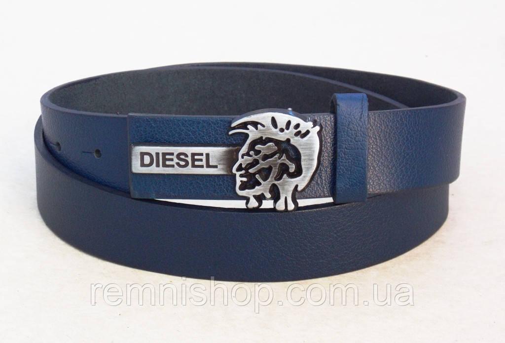 Синий ремень узкий кожаный Diesel