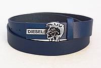 Синий ремень узкий кожаный Diesel, фото 1