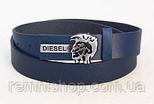Синій ремінь вузький шкіряний Diesel