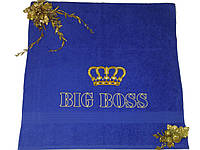 Махровое полотенце с вышивкой «BIG BOSS!» 70*140см