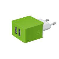 Сетевая зарядка TRUST URBAN Dual Smart Wall Charger (ЛАЙМ)
