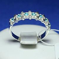 Серебряное кольцо с голубым цирконием Анвиль кс 1239г