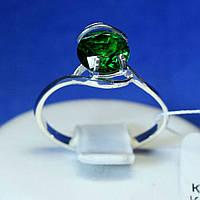 Серебряное кольцо с зеленым камнем циркония кс 1258з