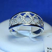 Серебряное кольцо с цирконием Ромбики кс 1235