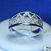 Серебряное кольцо с цирконием Ромбики кс 1235, фото 1