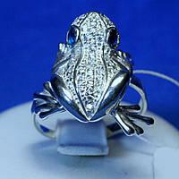 Оригинальное серебряное кольцо Лягушка с цирконием кс 1211