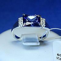 Серебряное кольцо с фианитом Синий Багет 60566ам.а