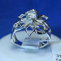 Серебряное кольцо Цветок с фианитом 3150мм