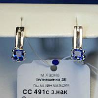 Серебряные серьги с золотыми напайками сс 491с з.нак, фото 1