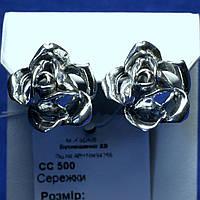 Крупные серьги серебро Роза без камней сс 500