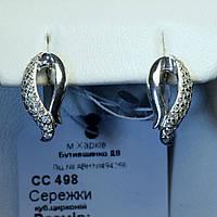 Серьги с цирконом серебро 925 пробы сс 498