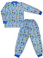 Утепленная детская пижама (кофта и брюки) (Голубой, космос)