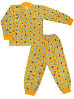 Утепленная детская пижама (кофта и брюки) (Желтый, звери)