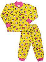 Утепленная детская пижама (кофта и брюки) (Желтый, кот)
