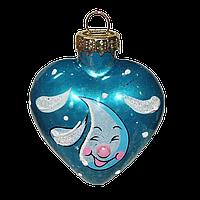 Стеклянное елочное украшение Сердце с каплей бирюза