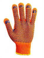 Перчатки х/б с ПВХ точкой двойные оранжевые