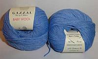 Пряжа Беби вул Baby Wool Gazzal, 813, голубой