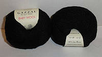 Пряжа Бэби вул Baby Wool Gazzal, 803, черный